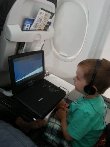 watching movies on the airplane